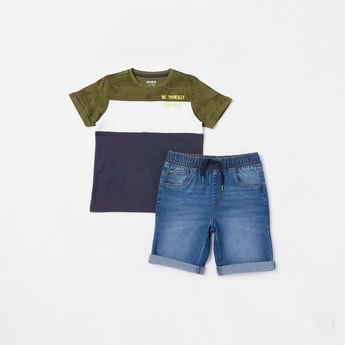 Panelled Round Neck T-shirt and Denim Shorts Set