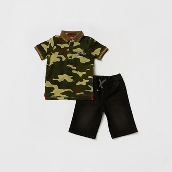 All-Over Camouflage Print Polo T-shirt with Denim Shorts Set
