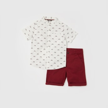 All-Over Print Shirt with Solid Shorts Set