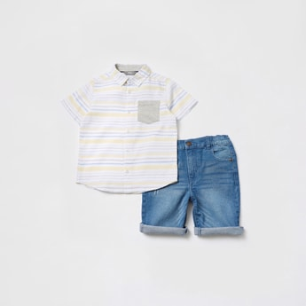 Striped Short Sleeves Shirt and Denim Shorts Set