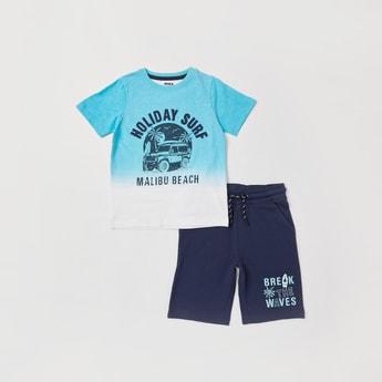 Graphic Print Round Neck T-shirt and Shorts Set