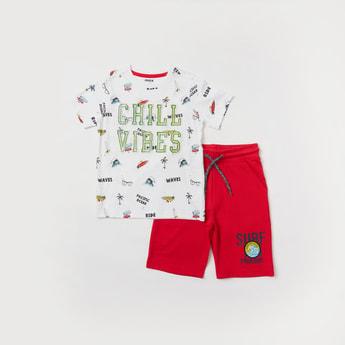 Set of 2 - Text Print T-shirt and Shorts Set