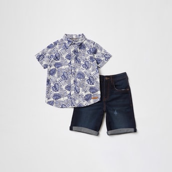 All-Over Print Short Sleeves Shirt and Denim Shorts Set