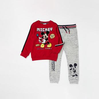 Mickey Mouse Graphic Print Long Sleeves Sweatshirt with Jog Pants Set