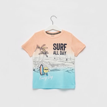 Print Detail Ombre T-shirt with Short Sleeves