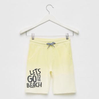 Embroidered Ombre-Dyed Shorts with Elasticated Drawstring Waist