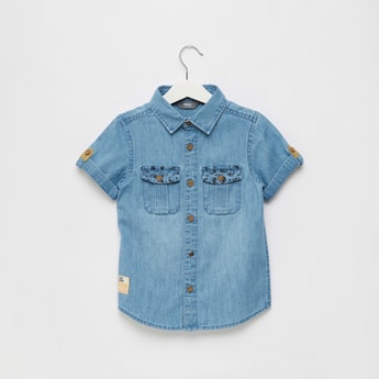 Denim Shirt with Front Flap Pockets and Collar