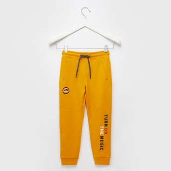 Full Length Printed Knit Jog Pants with Drawstring