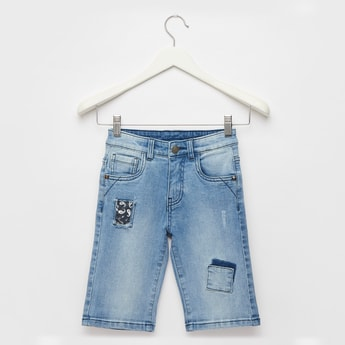 Patch Detail Denim Shorts with Pockets and Belt Loops