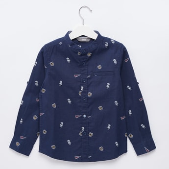 All-Over Graphic Print Shirt with Mandarin Collar and Long Sleeves