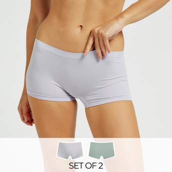 Pack of 2 - Solid Shapewear Boyleg Briefs with Elasticised Waistband