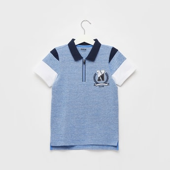 Textured Polo T-shirt with Short Sleeves and Zip Closure