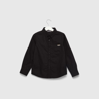 Textured Pocket Detail Shirt with Roll-Up Long Sleeves