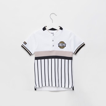 Embroidered Detail Cut and Sew Polo T-shirt with Short Sleeves
