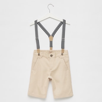 Textured Slim Fit Suspender Shorts with Pockets and Button Closure