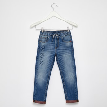 Comfort Fit Full Length Jeans with 5-Pockets and Elasticated Waist