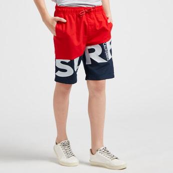 Colourblock Shorts with Pocket Detail and Drawstring Closure