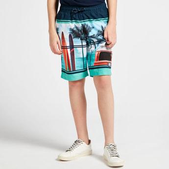 Colourblock Printed Shorts with Pocket Detail and Drawstring Closure