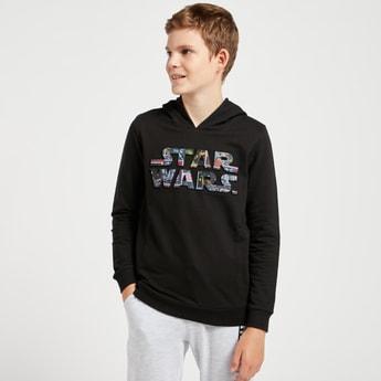 Star Wars Embossed Print Sweatshirt with Hood and Long Sleeves