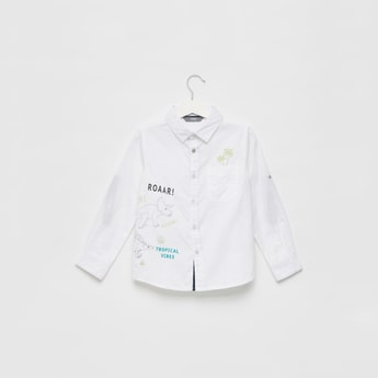 Dino Placement Print Embroidered Shirt with Long Sleeves and Collar