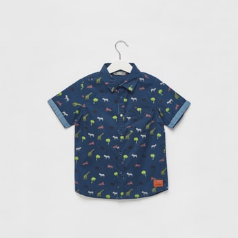 Tropical Print Shirt with Short Sleeves and Pocket