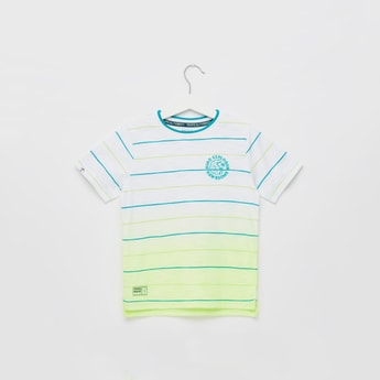 Striped Ombre T-shirt with Round Neck and Short Sleeves