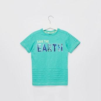 Slogan Print T-shirt with Pintuck Detail and Short Sleeves