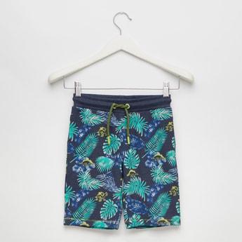 Tropical Print Knee-Length Shorts with Drawstring Closure