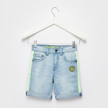 Side Tape Detail Denim Shorts with Pockets and Button Closure