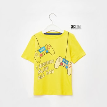 Gaming Print T-shirt with Short Sleeves and Round Neck