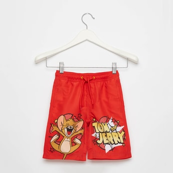Tom and Jerry Graphic Print Swim Shorts with Drawstring Closure