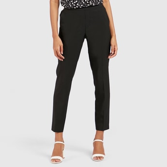 Solid Mid-Rise Cropped Formal Trousers with Pocket Detail
