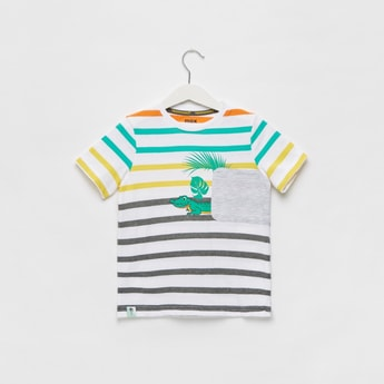 Striped Round Neck T-shirt with Patch Pocket
