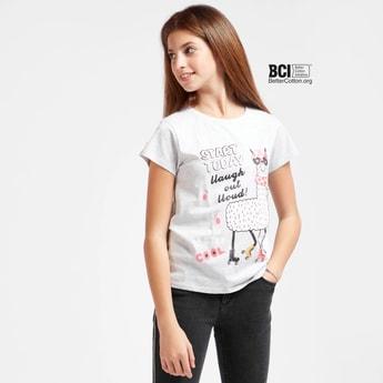 Llama Print Round Neck T-shirt with Cap Sleeves