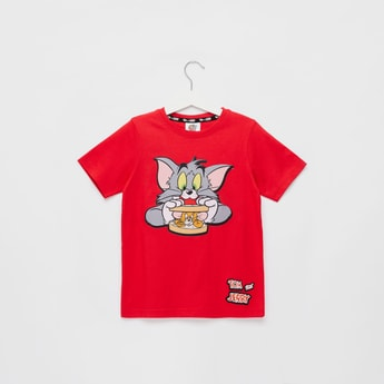 Tom and Jerry Embroidered Detail T-shirt with Short Sleeves