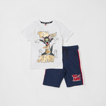 Tom and Jerry Foil Print T-shirt with Shorts