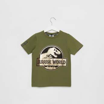 Jurassic World Foil Print Round Neck T-shirt with Short Sleeves