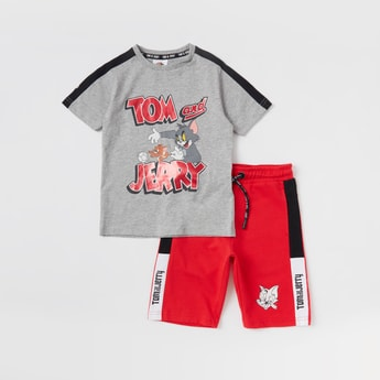 Set of 2 - Tom and Jerry Print T-shirt and Shorts