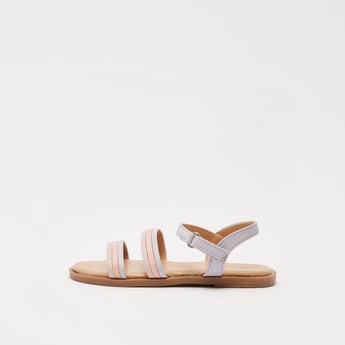 Open-Toe Strappy Sandals with Hook and Loop Closure
