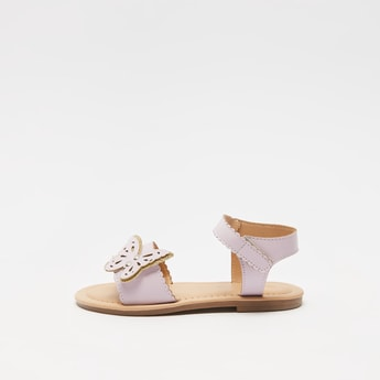 Butterfly Applique Sandals with Hook and Loop Closure