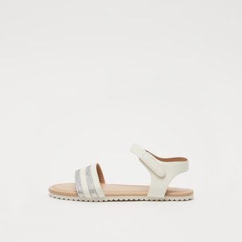 Glitter Detail Open-Toe Strap Sandals with Hook and Loop Closure