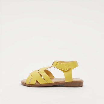 Open-Toe Cross Strap Sandals with Hook and Loop Closure
