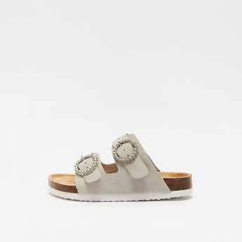 Solid Sandals with Pin Buckle Detail Straps