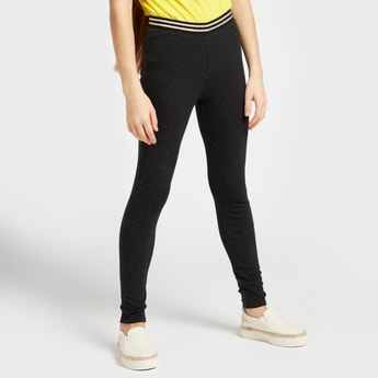 Full Length Textured Lurex Leggings with Striped Elasticised Waistband