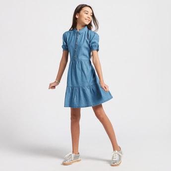 فستان سادة ميدي بياقة وأكمام بأربطة