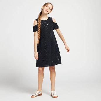 Embellished Cold-Shoulder Knee Length Dress with Short Sleeves