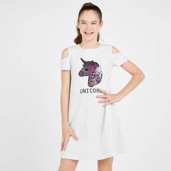 Embellished Unicorn Cold Shoulder Dress with Round Neck