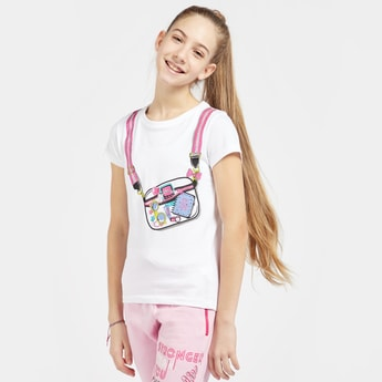 Bag Print T-shirt with Round Neck and Short Sleeves