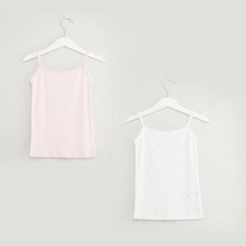 قميص داخلي قصير بحمالات رفيعة- طقم من قطعتين