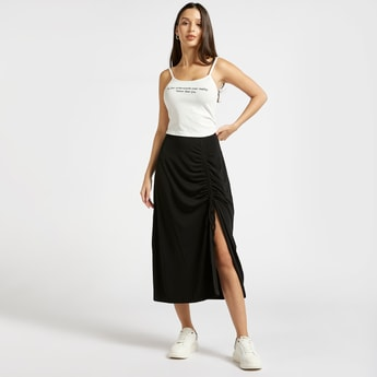 Solid Ruched Midi A-line Skirt with Elasticised Waistband
